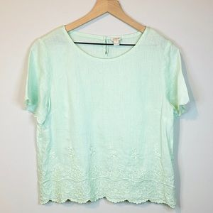 J. Crew Scalloped Mint Embroidered 100% Linen top